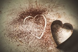 love for self, chocolate powder heart