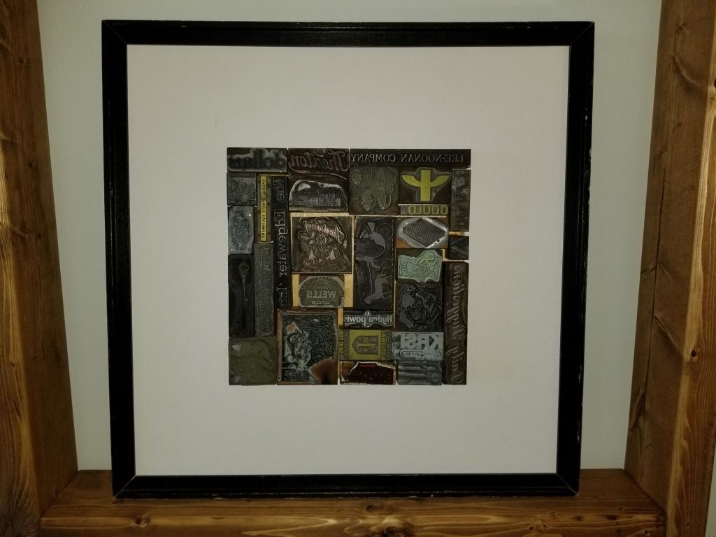 various print blocks framed in square frame reflecting creativity in counseling North St. Paul