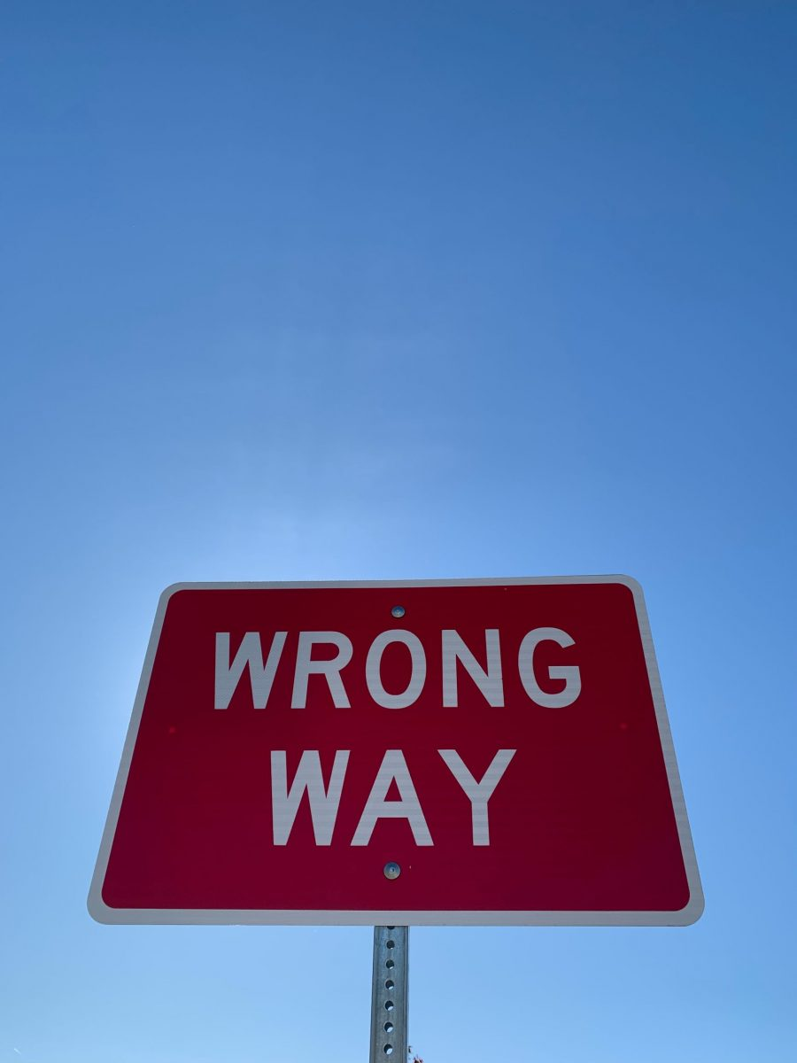 Wrong Way sign, white letters, red sign, with blue sky behind and above